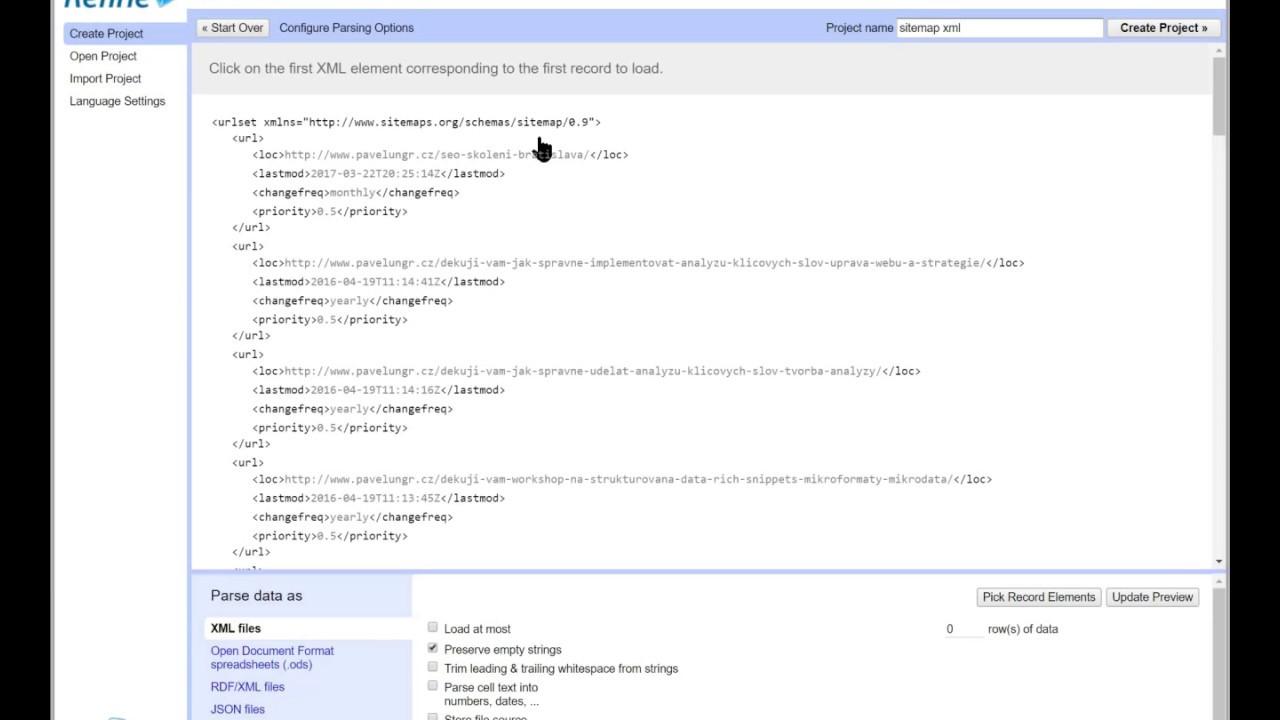 návod jak získat seznam url z sitemap pomocí open refine youtube
