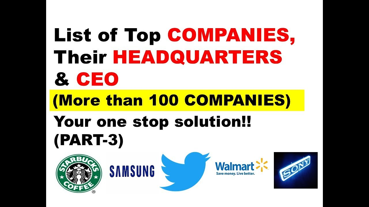 TOP COMPANIES IN THE WORLD (more than 100), THEIR HEADQUARTERS & CEO I  BUSINESS G K I PART-4