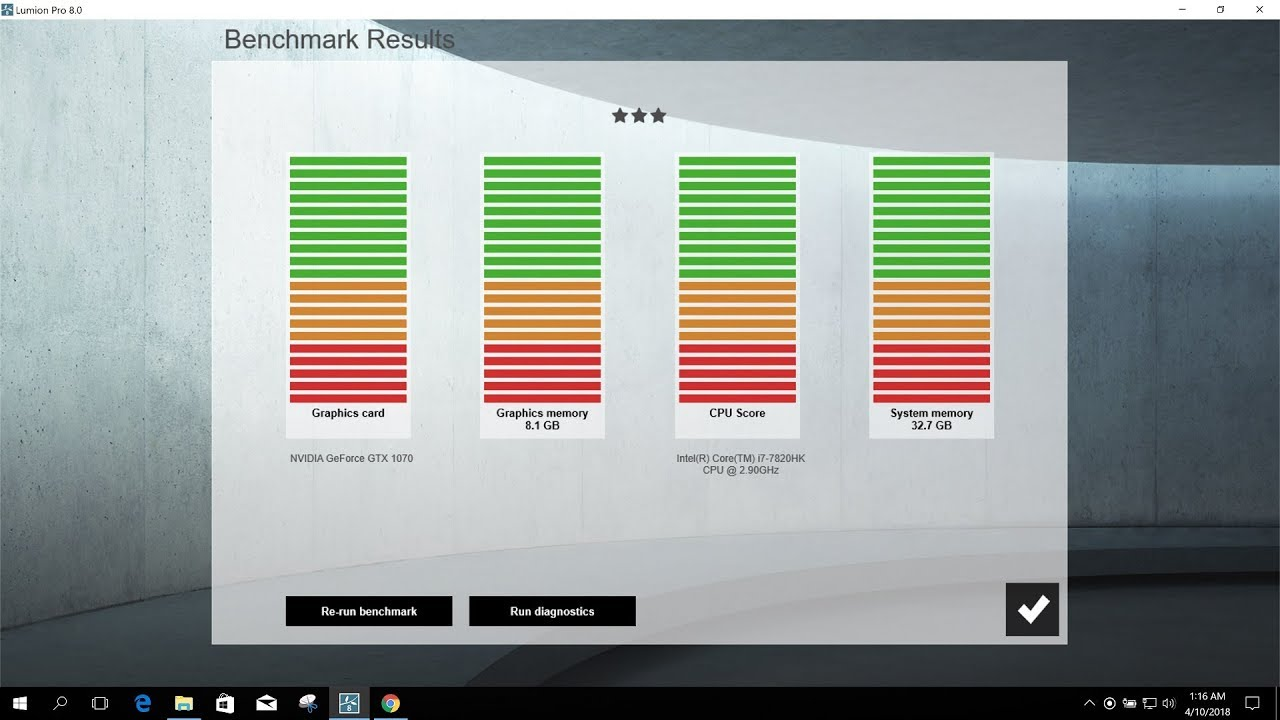 CHECKING LUMION BENCHMARK FOR PC OR LAPTOP