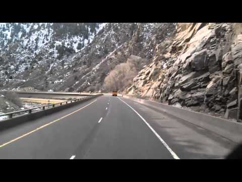 Winding through Glenwood Canyon on Interstate 70 West in Colorado