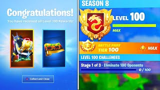 Le nouveau LEVEL 100 REWARDS en SEASON 8! SECRET REWARDS UNLOCKED à Fortnite! (Fortnite Battle Royale)