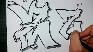 """How to draw Graffiti Letter """"Z"""" on paper"""