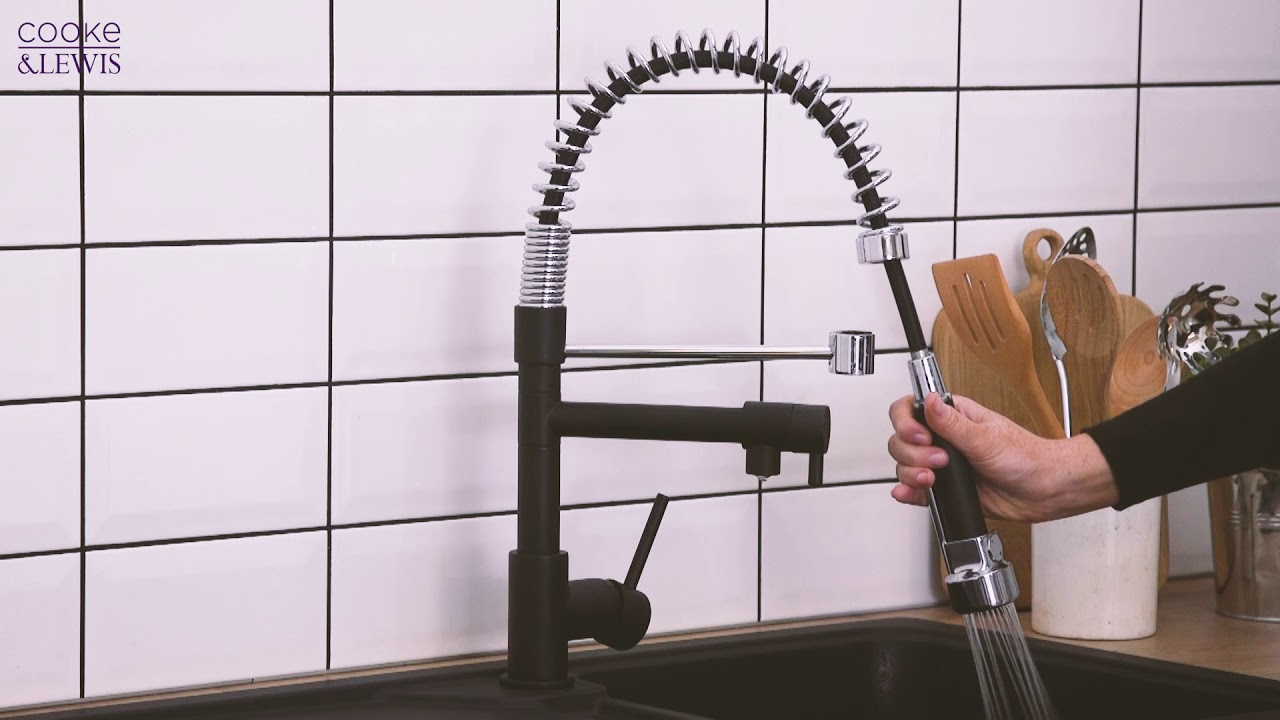 COOKE AND LEWIS 19C PULL-OUT SPRAY DUAL-SPOUT MONO MIXER KITCHEN TAP ...