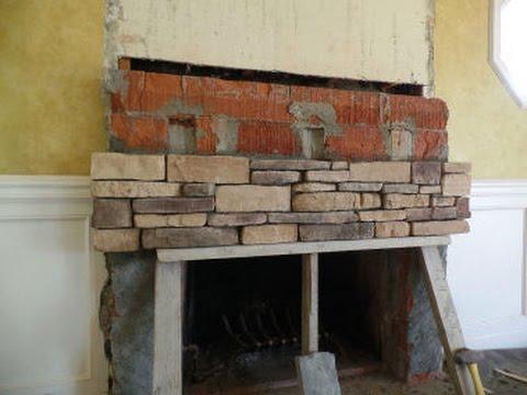 Stone Veneer Over Concrete Block Fireplace  YouTube
