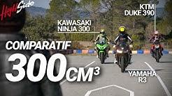 Comparatif 300 cm3 : KTM Duke 390 VS Yamaha R3 VS Kawasaki Ninja 400