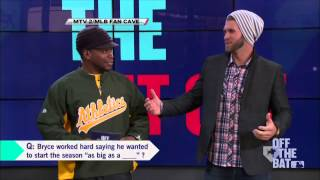 Bryce Harper stops by the MLB Fan Cave in New York City