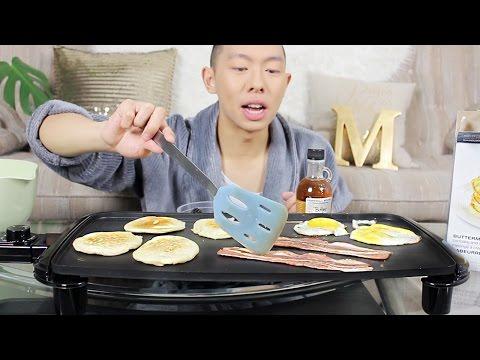 CONTINENTAL BREAKFAST MUKBANG | Pancakes, Eggs & Bacon | Eating Show