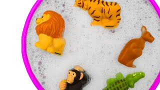 Learn Colors with Animals In Swimming Pool For Kids - Blue Pool For Children - Animal Toys
