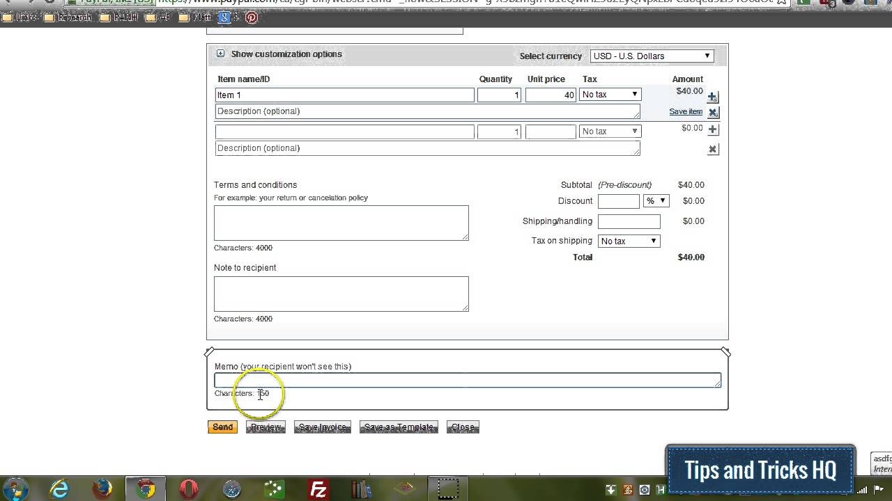 How To Create An Invoice Using Your PayPal Account YouTube - How to make a invoice for paypal