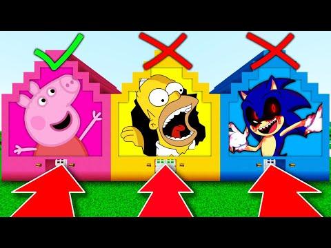 NE CHOISISSEZ PAS LA MAUVAISE MAISON MINECRAFT !! Peppa Pig Homer Simpson Sonic.exe !