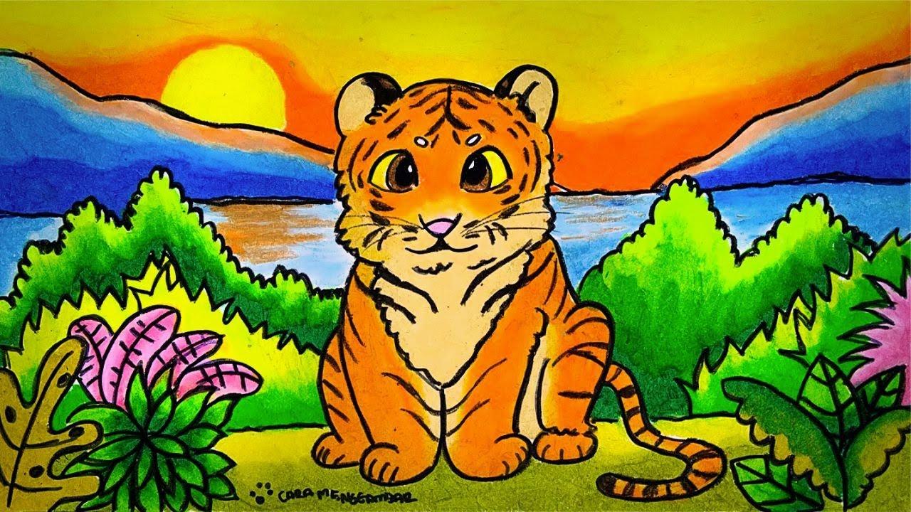 Cara Menggambar Dan Mewarnai Tema Fauna Hewan Langka Harimau Yang Bagus Dan Mudah Ep 205 Youtube