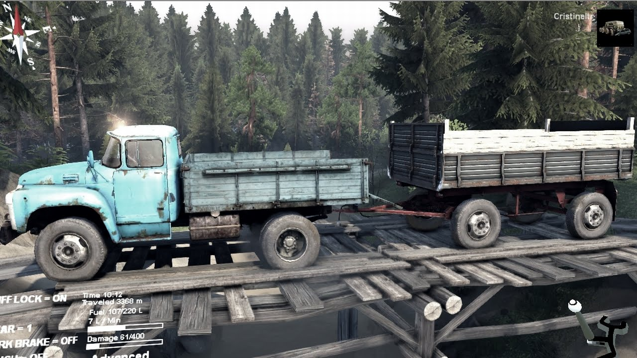 SPINTIRES 2014 - The Hill Map - ZIL 130 + Full Trailer on