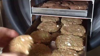 Raw Meat & Veggie Burger Dog Food In My Harvest Right Home Freeze Dryer. Healthy Animal Food.