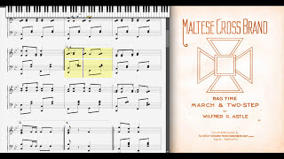 Maltese Cross Band By Wilfred Astle (1905, Ragtime Piano)