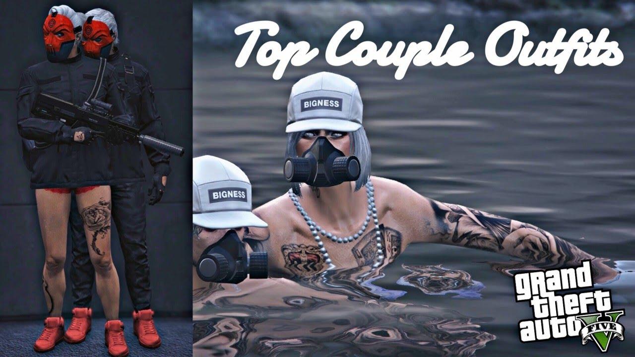 TOP FIVE COUPLE OUTFITS (GTA V ONLINE) u10e6 - YouTube