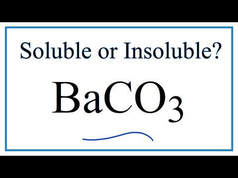 Is BaCO3 Soluble Or Insoluble In Water