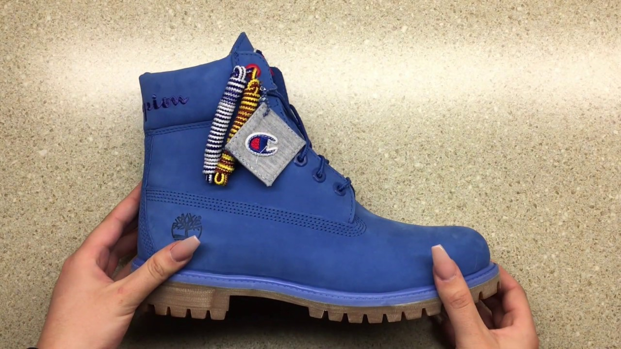 huge inventory discount shop how to buy Timberland X Champion 6 inch boots (Blue) Unboxing + on feet ...