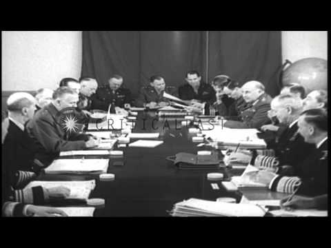 British and American Joint Chiefs of staff at the Malta Conference in Malta durin...HD Stock Footage