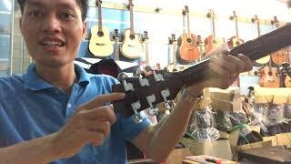 [Review] Guitar gỗ Hồng đào nguyên tấm. Mã FS2. Giá 1400k có ty chỉnh cần đàn tiếp tục phiên bản mới