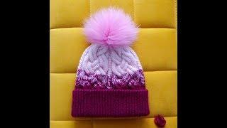 Saç örgü ombre bere yapılışı / Cable knit beret