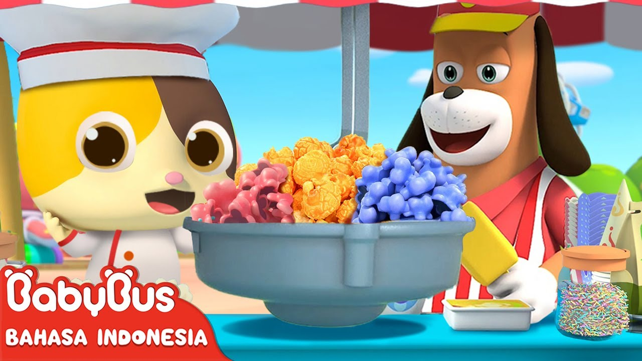 Yuk Kita Beli Popcorn Yang Manis Dan Enak | Lagu Makanan Anak | Lagu Anak | BabyBus Bahasa Indonesia