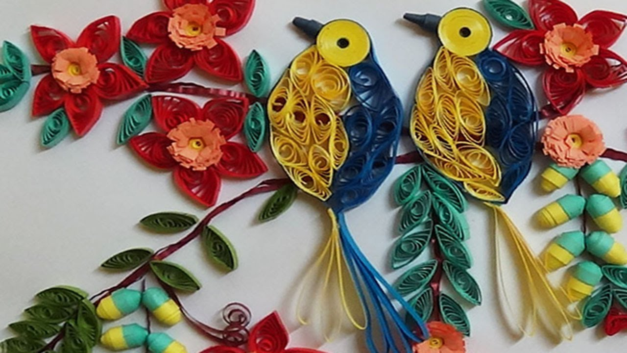 Papercraft Quilling Artwork |  Beautiful birds sitting on tree | 3D Birds