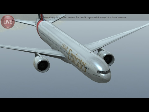 Flight Simulators broadcast.  Emirates Airlines Boeing-777-3