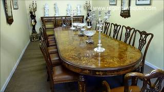 Huge Victorian Marquetry Extendable Walnut Dining Table (01213).wmv