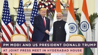 PM Modi and US President Donald Trump at Joint Press Meet in Hyderabad House