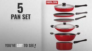Top 10 Pan Set [2018]: Nirlon Non-Stick Aluminium Cookware Set, 6-Pieces, Red/Black