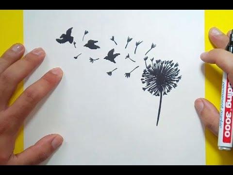 Como dibujar un diente de leon paso a paso | How to draw a dandelion ...