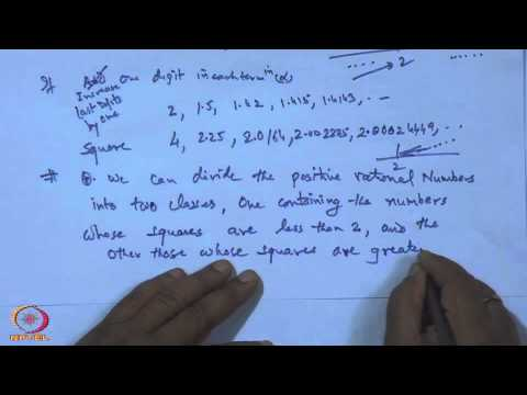 Mod-01 Lec-01 Rational Numbers and Rational Cuts