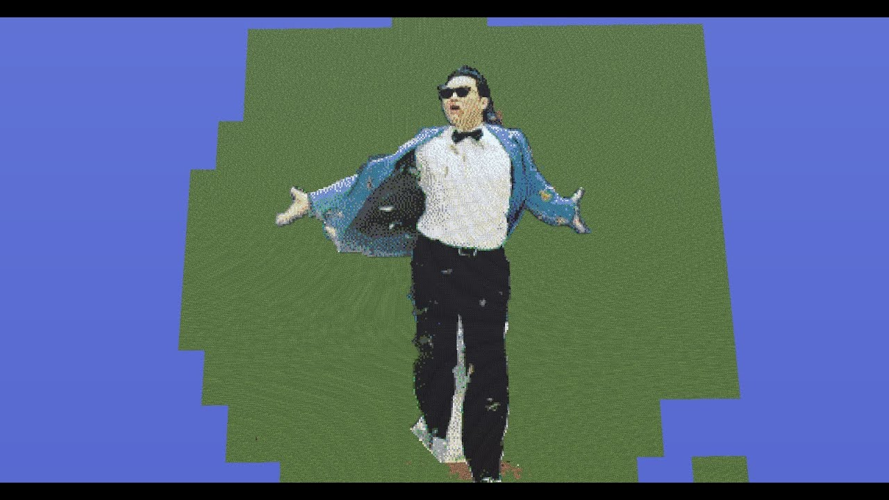 gangnam style on minecraft huge pixel art youtube