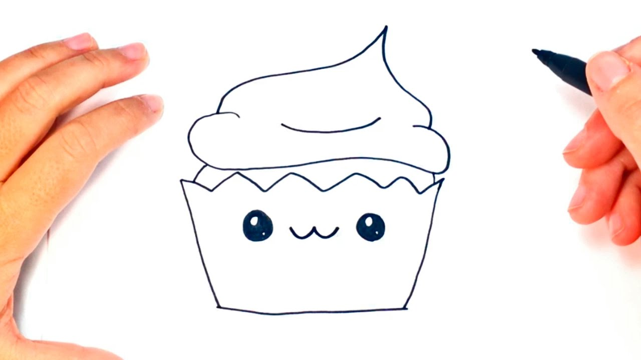 How To Draw A Kawaii Cupcake Kawaii Cake Easy Draw Tutorial Youtube
