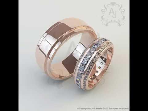 Обручальный комплект из коллекции Elizabeth розовое золото 585 и бриллианты