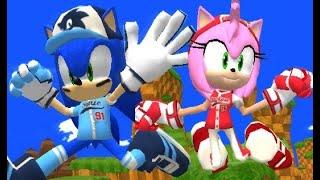 Slugger Sonic & All-Star Amy in Sonic World