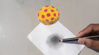 How to draw 3D ball floating in air | Learn to draw 3D ball