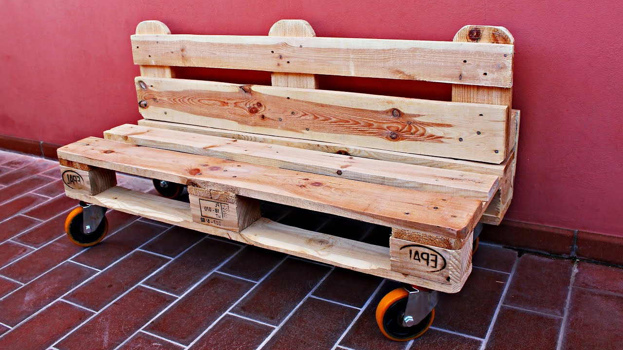 Pallet design panchina pallet fai da te diy youtube for Panchine fai da te