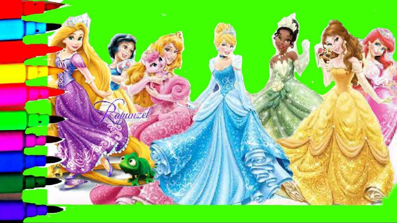 Disney Princess Tiana Jasmine Belle Rapunzel Ariel Mulan