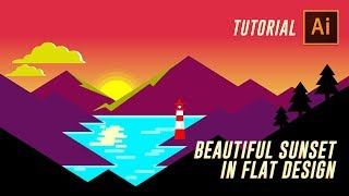 ILLUSTRATOR TUTORIAL : How to Make Flat Design Sunset Landscape Wallpaper