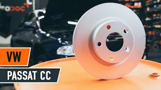 Kuinka vaihtaa etu jarrulevyt, etu jarrupalat VW PASSAT CC 1 -merkkiseen autoon OHJEVIDEO | AUTODOC
