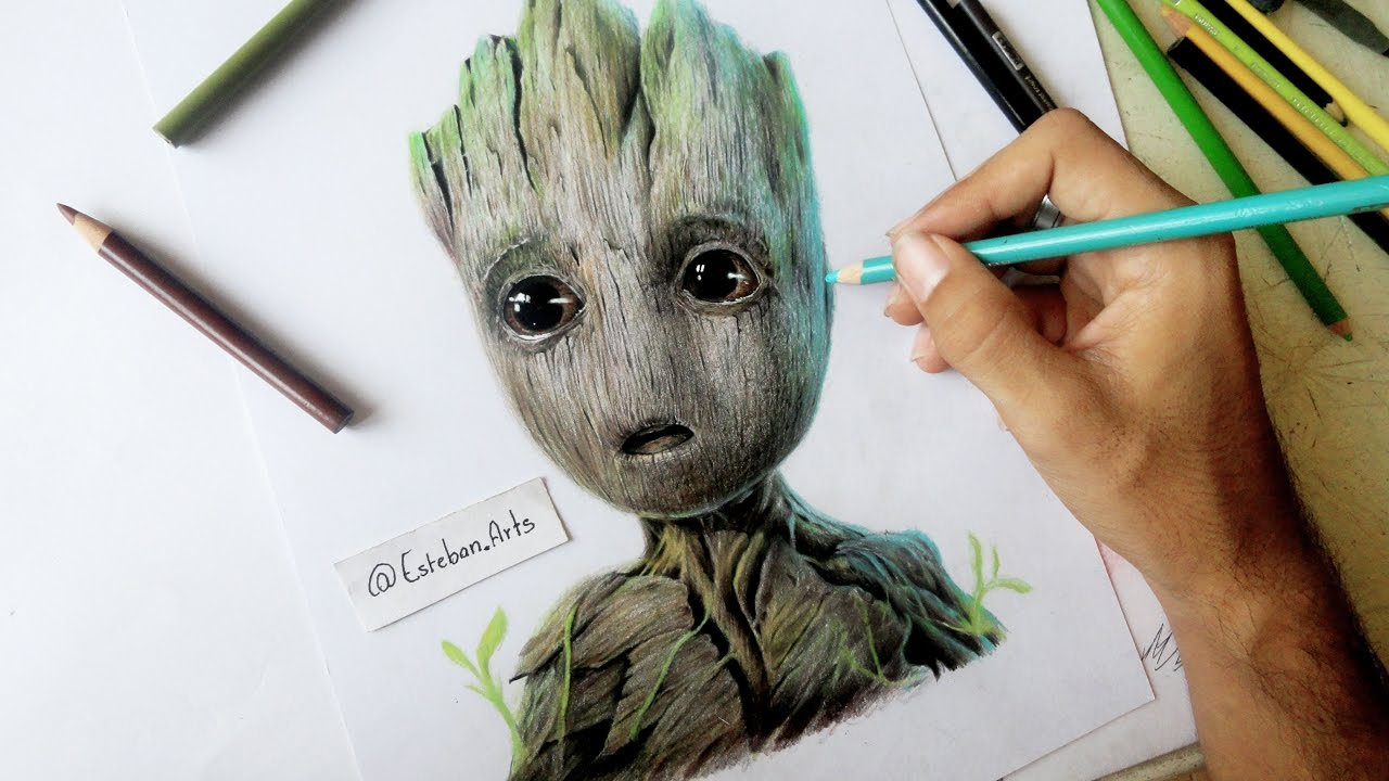 Speed Drawing Baby Groot - Guardianes De La Galaxia ... Raccoon Drawing Easy