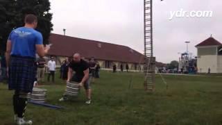 Mike Finn, of Danville, Pa, doing some keg tossing at the #yorkfair @ydrcom