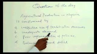 ANSWER TO THE QUESTION OF THE DAY - AGRICULTURE II