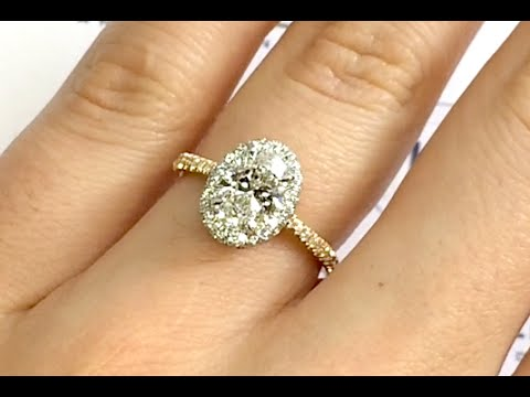 1 20 Ct Oval Diamond Halo Two Tone Engagement Ring Youtube