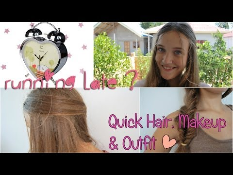 Опаздываешь в школу?Быстрый макияж и прически//Running Late For School?Quick Hair,Makeup&Outfit