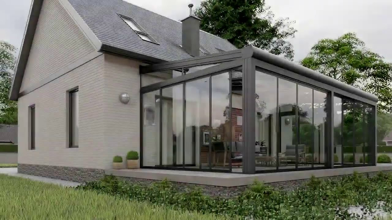 sunroom retractable glass roof with sliding glass doors