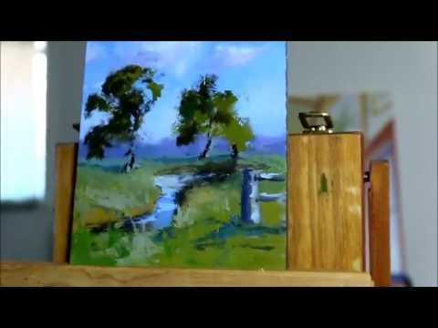 Landscape Oil Painting-from enpleinair to studio using palette knife