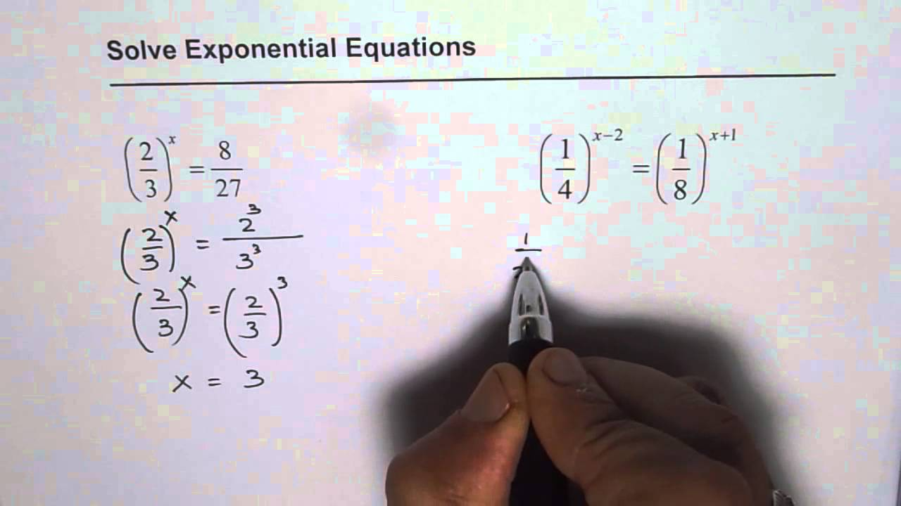 how to solve exponential equations with fractions