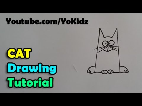 How to draw a cartoon cat for kids easy and simple